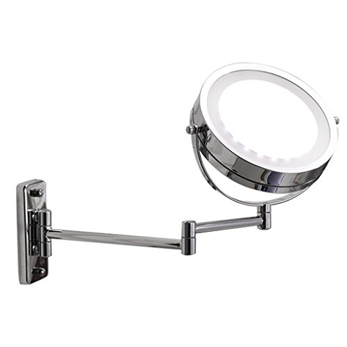 Zinnor Wall Mount LED Lighted Dual Sided Wall Makeup Mirror Equipped Metal Round Wall Mirror, Extending Folding Bathroom Shaving Cosmetic Make Up Mirror (Extending Bathroom Mirror)