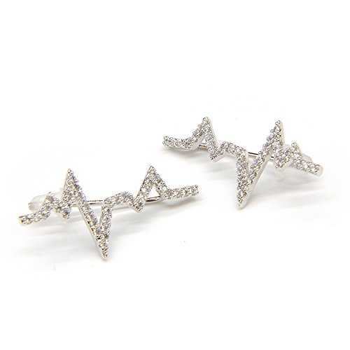 Silverstro Jewelry Heartbeat Handmade Earrings Monaco Style Stud Ear Drops Silver with Filigree Dazzle Crystal for Bridal Wedding Parties Dinner Ceremony ()