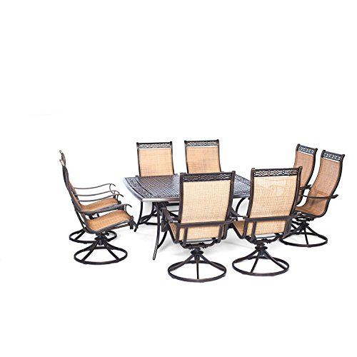Hanover Manor 9 Piece Outdoor Dining Set with Large Square Table and Eight Swivel Rockers (9 Piece Outdoor Dining Furniture)