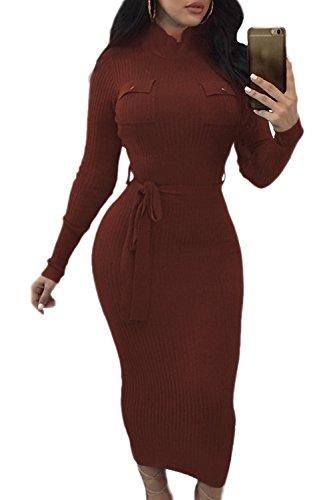 Bodycon La Invierno Cuello De Mujer Crucería Vestido Con Manga Alto Brown Larga zpFwqz