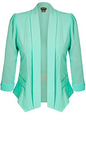 Designer Plus Size JKT DRAPEY BLAZER CO - Spearmint - 24 / XXL | City Chic
