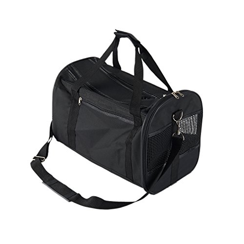 Pettom Soft-Sided Pet Airline Approved Travel Outdoor Portable Carrier Bag for Cats & Dogs Black