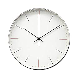 COMODO CASA Products Retro White Wall Clock with Metal Shining Silver Frame, Silent Non-Ticking- 10 Inch Quality Modern Design