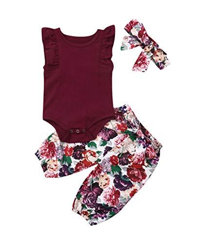 3PCS Clothes Set Newborn Toddler Baby Girl Romper Bodysuit Jumpsuit Floral Halen Pants Outfit Clothes (12-18 Months, Purple-Sleeveless Pants)