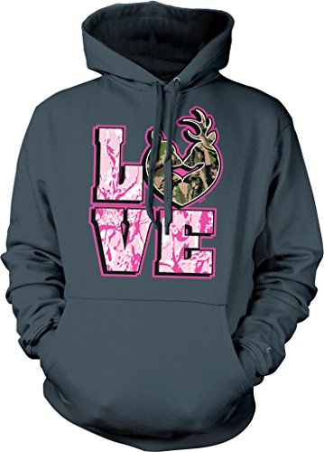 Love Hunting, Camo Deer Couple, Love, Rack Hooded Sweatshirt, NOFO Clothing Co. M Char