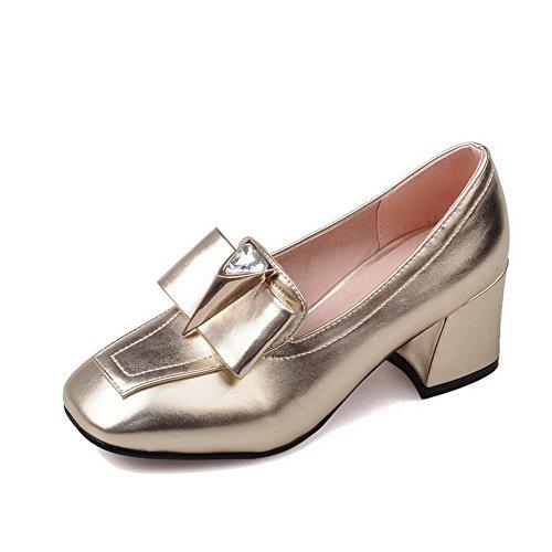 Damen Mittler Absatz Rein Ziehen auf Blend-Materialien Quadratisch Zehe Pumps Schuhe, Rot, 39 AllhqFashion