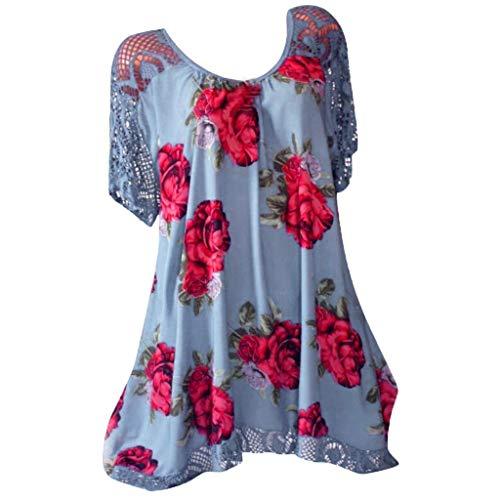 [해외]빈티지 보호 해변 드레스 여성용 여름 반소매 해변 프린트 짧은 미니 드레스 플러스 사이즈 S-5XL 야마리 / Vintage Boho Beach Dress,Women Summer Short Sleeve Beach Printed Short Mini Dress Plus Size S-5XL Yamally Blue