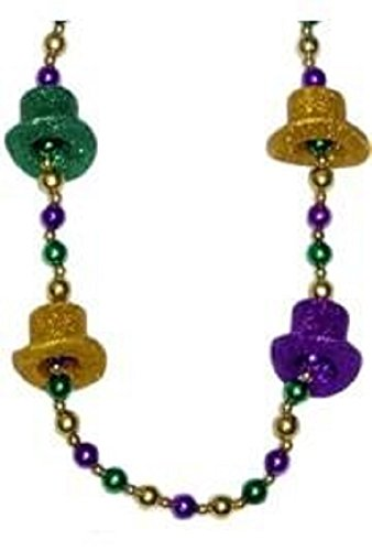 - Mardi Gras, Glittered Top Hat Beads, Necklace, 42