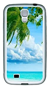 Tropical Paradise Beach And Palm Tree TPU Rubber Soft Case Cover For Samsung Galaxy S4 SIV I9500 White