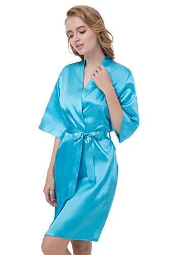 gusuqing Women's Pure Color Short Kimono Robe Sleeve Bridesmaid Robe Cyan 6 L]()