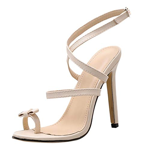 Nadition High Heel Shoes ❤️️ Women Solid Pointed Bow Open Toe Super High Spike Heel Shoes Fashion Cross Strap Pump Beige