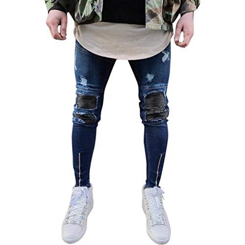 Fit Nero Strech Uomo Casual Holes Skinny Denim Ragazzo Pantaloni Chern Jeans Destroyed Da Slim XFwE0Oq