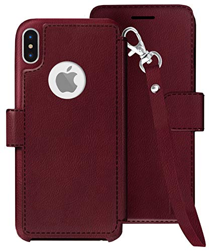 LUPA iPhone Xs Wallet case, iPhone X Wallet Case with Lanyard, Durable and Slim, Lightweight, Magnetic Closure, Faux Leather, Wristlet Burgundy, for Apple iPhone Xs/X