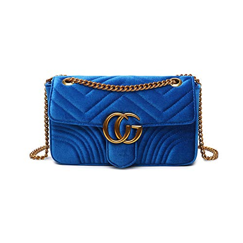 Mishuo Classic Women Quilted Chain Flap Handbag Purses Bags Work Party Elegant (Small Velvet Royal Blue)