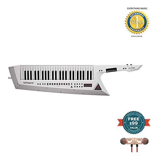 Roland AX-Edge 49-Key Keytar Synthesizer White (AX-EDGE-W) includes Free Wireless Earbuds – Stereo Bluetooth In-ear and 1 Year Everything Music Extended Warranty