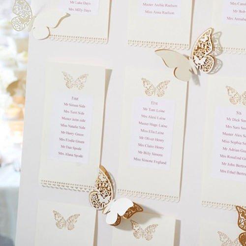 50 St/ück Schmetterling Tischkarten Namenskarten Glasanh/änger Wandsticker Platzkarten Lesezeichen f/ür Tischdeko Hochzeit Party geschenk Haus Deco golden