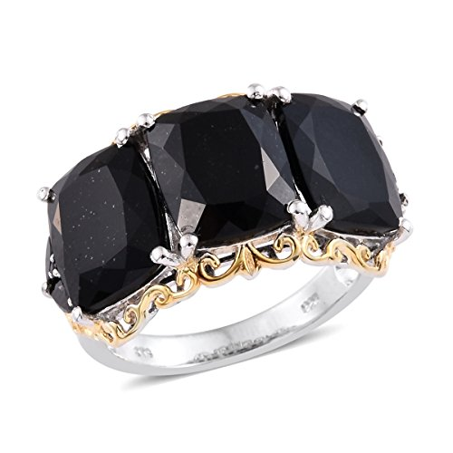 Black Tourmaline, Black Spinel 14K Yellow Gold and Platinum Plated Silver Ring 14.62 cttw. Size 6 (Jewelry Tourmaline Gold And Black)