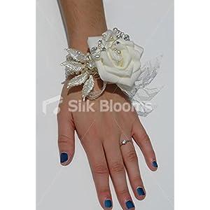 Vintage Ivory Rose Wedding Wrist Corsage w/ Crystals & Pearls 106