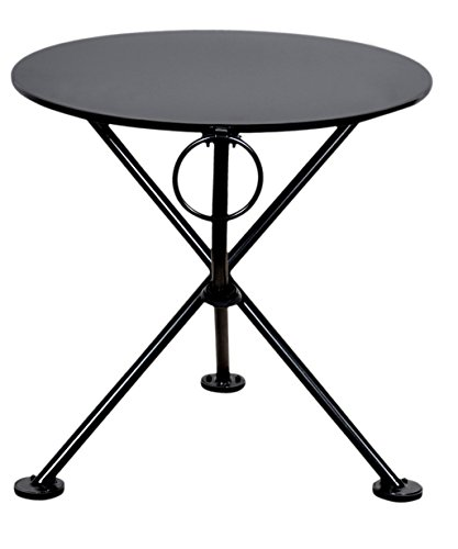 Mobel Designhaus French Café Bistro 3-leg Folding Coffee Table, Jet Black Frame, 20″ Round Metal Top Review