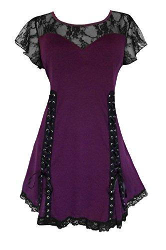 Dare to Wear Victorian Gothic Boho Women's Plus Size Roxanne Corset Top Plum ()