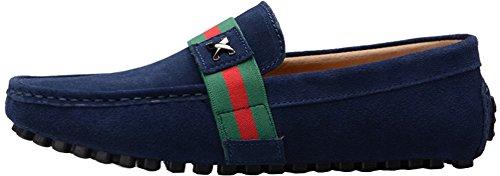 Abby Mens Qz-0028 Mode Confort Confortable Cosiness Message Conduite Plat En Cuir Doug Chaussures Bleu