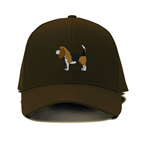 Beagle Dogs Pets Embroidery Adjustable Structured Baseball Hat Brown