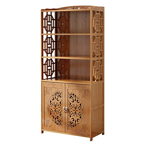 DULPLAY Wood en Bookcase with Doors,Thickened Floor-Standing Orchard Hills Library Easy Assembly Multifunctional Tall Bookshelf Storage Rack for Home -C 69x30x164cm 27x12x65inch