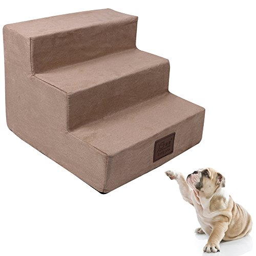 Easy 3 Steps Dog Stairs to get on High Bed, Toparchery Portable Foam Pet Ramp Pet Ladder for Cats Dogs