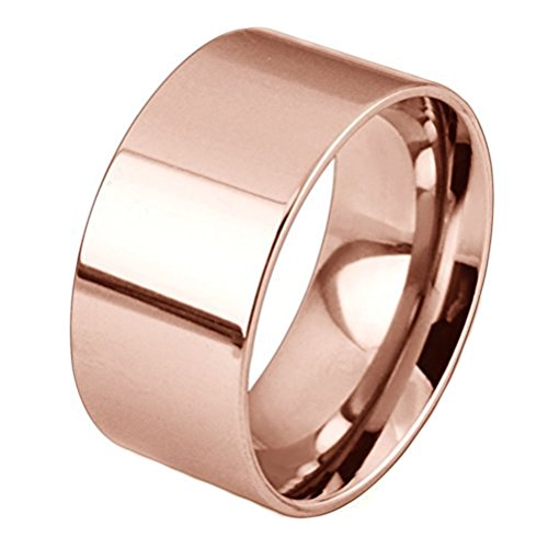 Men Women 10mm Wide Stainless Steel Ring Simple Style Rose Gold Big Band Polished Flat Top Comfort Fit