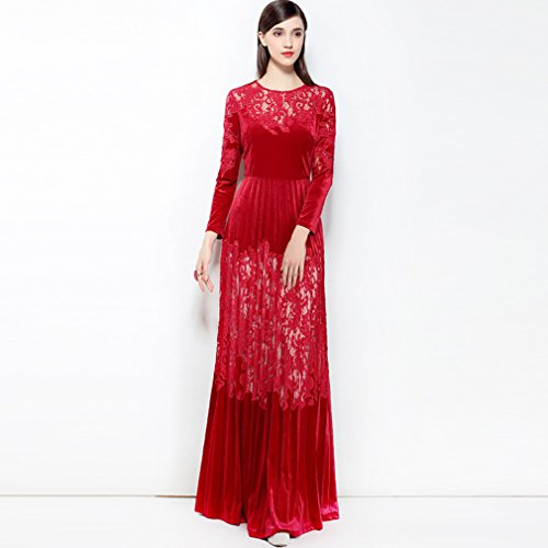 Dresses Sleeve Scoop Long Neck Women`s Long Lace cotyledon Dress FqXwE6Iw