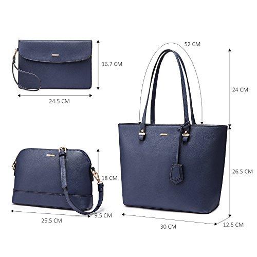 Handbags Top Handle Tote Bag Navy 3 Ladies Ladies Bag Women PCS Handbag Gorgeous Set for Shoulder v4zqFtx