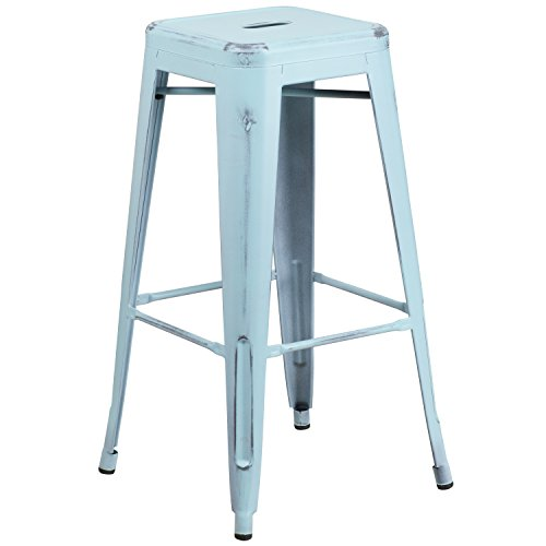 High Backless Distressed Green-Blue Metal Indoor-Outdoor Barstool (Distressed Metal)