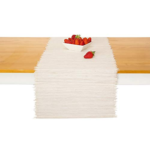"""White Woven Bamboo - Natural Bamboo Table Runner – Handmade Home Decor for Kitchen & Coffee Table – 14"""" x 60"""" Accent Runner – Rustic Woven Runners by Toma Tov, Off White"""