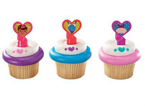 Doc McStuffins party cupcake rings (24) favor cake topper 2 dozen goody bag