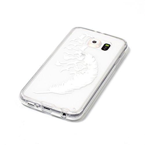 Funda Galaxy S6,SainCat Moda Alta Calidad suave de TPU Silicona Suave Funda Carcasa Caso Parachoques Diseño pintado Patrón para Carcasas TPU Silicona Flexible Candy Colors Ultra Delgado Ligero Goma Ca Pluma