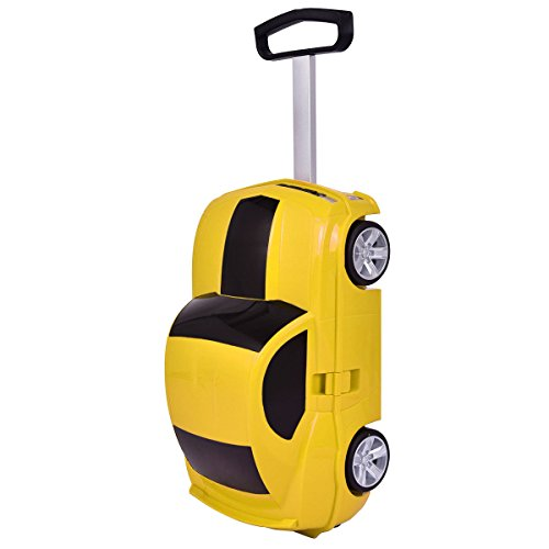 Goplus Kids Luggage Car Design w/ 2.4G Radio Remote Control Trolley Suitcase for Toddler (Yellow) by Goplus