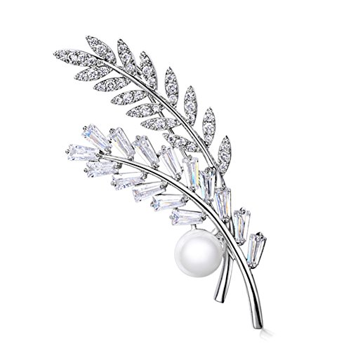 Hanie Flower Leaf Brooch Pearl Pin Silver Tone White Round Rectangular AAA Cubic Zircon with Stainless Steel Chain can also wear as Necklace Suitable for Sweater Coat Suit