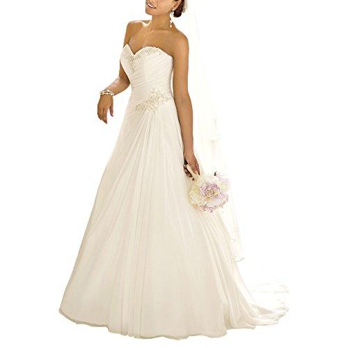 Kleid ABaoWedding elfenbeinfarben weiß weiß Damen YTqw76