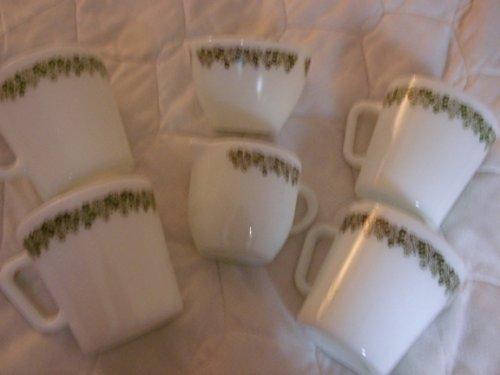 Vintage Pyrex Corning Spring Blossom (Crazy Daisy) 4 Mugs, Sugar & Creamer (Daisy Creamer)