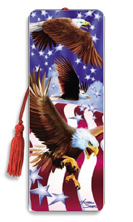 3D Bookmark with Tassel - American Eagle Amazing 3D Art - Cool Bookmarks for kids, men, women, boys & girls. Great bookmarks for books, magazines, textbooks, journals & more -