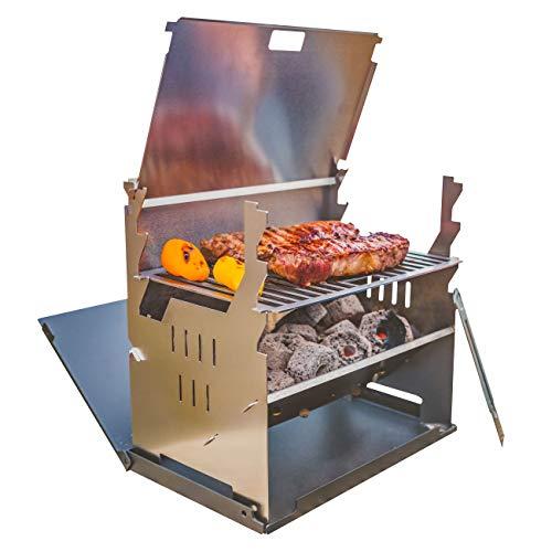 FENNEK Grill und Zubehör | Mobiler und steckbarer Holzkohle-Grill aus Edelstahl für Camping, Trekking, Vanlife, Garten…