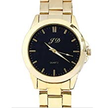 Changeshopping New Luxury Men Gold Classic Stainless Steel Wrist Watch (black)