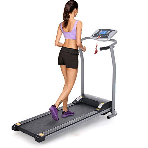 ANCHEER 502 Folding Electric Treadmill, Easy Assembly Motorized Running Machine with Rolling Wheels