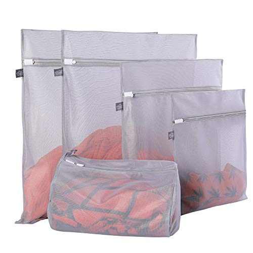 Mesh Laundry Bags for Delicates with Premium Zipper, Travel Storage Organize Bag, Clothing Washing Bags for Laundry, Blouse, Bra, Dress, T-Shirt, Stocking, Underwear, Lingerie, Jeans (Grey, 5Pcs)