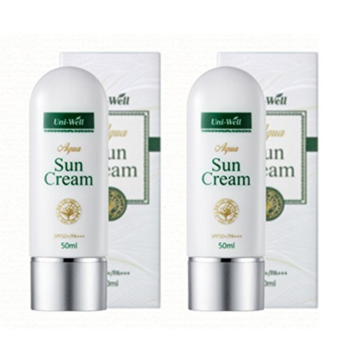 Super Smooth Correction Fluid (Aqua Sun Block Cream - Whitening, Anti-Wrinkle, UV Protection Formula Facial Sunscreen SPF 50+, PA+++ 1.69 FL. Oz x 2 PACK)