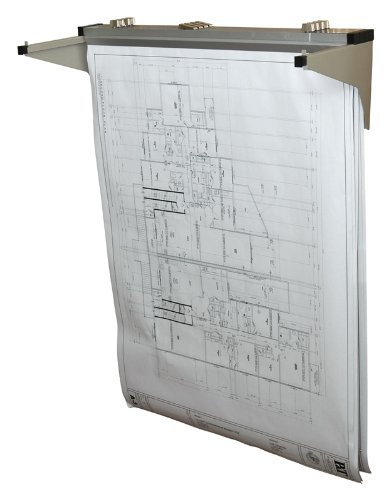 Adir Corp. Drop - Lift Wall Rack for Blueprints - Plans, Sand Beige with 12 36'' File Hanging Clamps by Adir Corp.