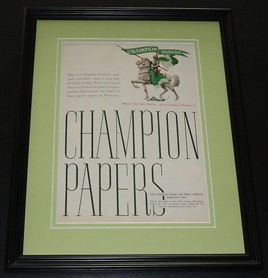 (1951 Champion Papers ORIGINAL Framed Advertisement 11x14 Promotional Photo)