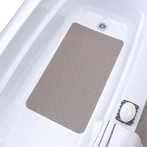 SlipX Solutions Mildew Resistant Large Tan Rubber Bath Safety Mat Features Powerful Microban® Antimicrobial Product Protection (15 x 27, 250 Suction Cups, Machine Washable)