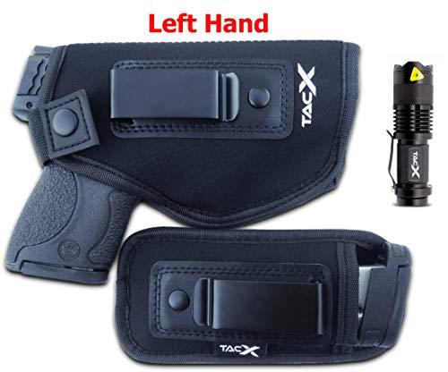(Universal IWB Holster For Concealed Carry | BONUS Mag Holster | EDC Inside The Waistband | Flexible, Breathable, Neoprene | S&W M&P Shield 9/40 1911 XDS Taurus PT111 G2 Glock 19 17 22 26 27 43 (Left))