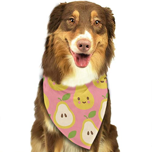 Jadetian Happy Pears Dog Bandana - Washable Triangle Bibs Fashion Pet Scarfs Accessories Pet Birthday Gift Decorations